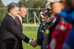 President of Ukraine Poroshenko and NATO Secretary General Jens Stock Photos