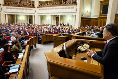 President of Ukraine Poroshenko in the session of Verkhovna Rada Stock Photography