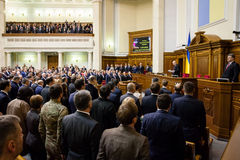 President of Ukraine Poroshenko in the session of Verkhovna Rada Stock Image