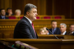 President of Ukraine Poroshenko in the session of Verkhovna Rada Royalty Free Stock Photography