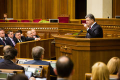 President of Ukraine Poroshenko in the session of Verkhovna Rada Stock Images