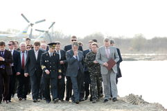 President of Ukraine Victor Yushchenko. Opened dike on a Danube-Black Sea canal Royalty Free Stock Image