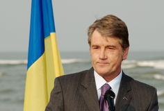 President of Ukraine Victor Yushchenko. Opened dike on a Danube-Black Sea canal Royalty Free Stock Images