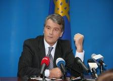 President of Ukraine Viktor Yushchenko. LUTSK, UKRAINE - 02 December 2008: Press conference of the President of Ukraine Viktor Yushchenko Stock Photos