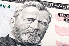 President Ulysses S. Grant from fifty dollar bill. Stacked photo.  Royalty Free Stock Photography