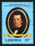 President of the United States Andrew Johnson. LIBERIA - CIRCA 1981: stamp printed by Liberia, shows President of the United States Andrew Johnson, circa 1981 Stock Photo
