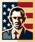 President of the United States Barack Obama isolated flat style vector. Icon on the background of the American flag vector illustration