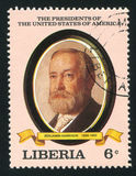 President of the United States Benjamin Harrison. LIBERIA - CIRCA 1982: stamp printed by Liberia, shows President of the United States Benjamin Harrison, circa Royalty Free Stock Image
