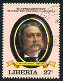 President of the United States Chester Arthur. LIBERIA - CIRCA 1982: stamp printed by Liberia, shows President of the United States Chester Arthur, circa 1982 stock photo