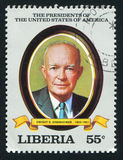 President of the United States Dwight D. Eisenhower. LIBERIA - CIRCA 1982: stamp printed by Liberia, shows President of the United States Dwight D. Eisenhower stock photography