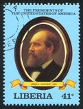 President of the United States James A. Garfield. LIBERIA - CIRCA 1981: stamp printed by Liberia, shows President of the United States James A. Garfield, circa Royalty Free Stock Images