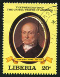 President of the United States John Q. Adams. LIBERIA - CIRCA 1981: stamp printed by Liberia, shows President of the United States John Q. Adams, circa 1981 Stock Image