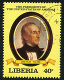 President of the United States John Tyler. LIBERIA - CIRCA 1981: stamp printed by Liberia, shows President of the United States John Tyler, circa 1981 stock photography