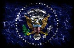 President of the United States state smoke flag, United States O. F America stock photo