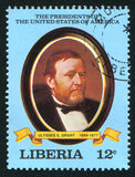 President of the United States Ulysses S. Grant. LIBERIA - CIRCA 1981: stamp printed by Liberia, shows President of the United States Ulysses S. Grant, circa Royalty Free Stock Photography