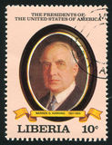 President of the United States Warren G. Harding. LIBERIA - CIRCA 1982: stamp printed by Liberia, shows President of the United States Warren G. Harding, circa Stock Image