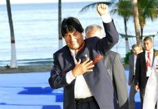 President van Bolivië Evo Morales Stock Foto's