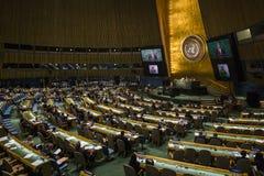 President van de Oekraïne Petro Poroshenko bij de Algemene Vergadering van de V.N. Royalty-vrije Stock Foto