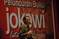 PRESIDENT WIDODO BIOGRAPHY. Indonesia's President Joko Widodo, also known as Jokowi, gave speech during the launch of his political biography at Solo, Java Royalty Free Stock Images