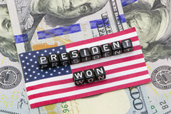 The president won words. On flag background royalty free stock images
