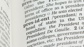 President word definition in vocabulary, democratic republic leader, governor stock video
