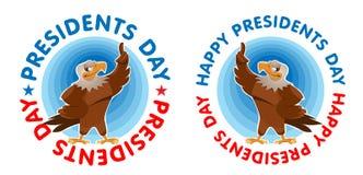 Presidentdaglyckönskan med amerikanen Eagle Arkivbilder