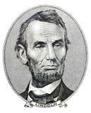 Presidente Abraham Lincoln na conta de dólar cinco fotos de stock royalty free