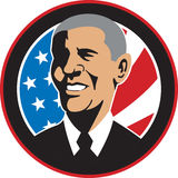 Presidente americano Barack Obama Flag illustrazione di stock