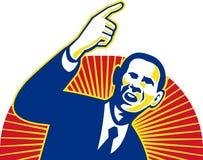 Presidente americano Barack Obama que aponta para a frente ilustração stock