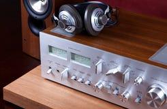 Presidente audio análogo de los auriculares del amplificador del sistema estéreo Imagenes de archivo