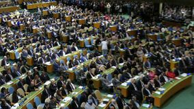 Presidente Barack Obama de los E.E.U.U. lleva a cabo un discurso, la Asamblea General de los Naciones Unidas