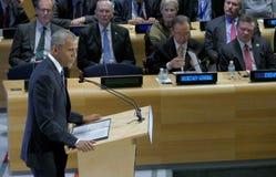 Presidente Barack Obama ha ospitato una sommità dei capi sulla crisi globale del rifugiato sui margini di UNGA 71 Immagini Stock