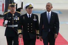Presidente Barack Obama llega la Atenas Imagen de archivo libre de regalías