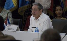 Presidente cubano Raul Castro en la abertura de la 22da reunión de la asociación del consejo de la reunión ministerial de los est foto de archivo