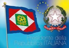 Presidente da bandeira italiana da república, Italia Fotografia de Stock