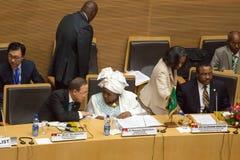 Presidente de AUC que discute con secretaria General de la O.N.U Imágenes de archivo libres de regalías