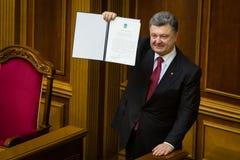 Presidente de Ucrânia Petro Poroshenko após a assinatura do Fotos de Stock Royalty Free