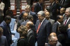 Presidente de Ucrânia Petro Poroshenko na assembleia geral do UN Foto de Stock Royalty Free