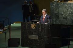 Presidente de Ucrania Petro Poroshenko en la Asamblea General de la O.N.U Imagen de archivo