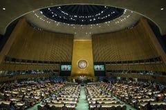 Presidente de Ucrania Petro Poroshenko en la Asamblea General de la O.N.U fotografía de archivo