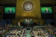 Presidente de Ucrania Petro Poroshenko en la Asamblea General de la O.N.U foto de archivo libre de regalías