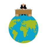 Presidente del mundo Gran jefe Planet Earth el amo es hombre de negocios Imagen de archivo