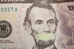 Presidente di Silente, ritratto del capo americano Abraham Lincoln con la bocca chiusa Fotografia Stock Libera da Diritti