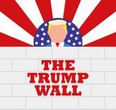 Presidente Donald Trump y su pared de los E.E.U.U. de la frontera Foto de archivo