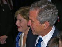 Presidente George W. Bush y señora Laura Bush Imágenes de archivo libres de regalías