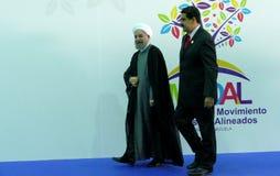 Presidente iraní Hasan Rouhani y presidente venezolano Nicolas Maduro fotografía de archivo libre de regalías
