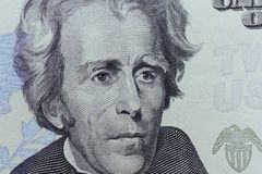 Presidente Jackson de los E.E.U.U. hace frente en veinte o 20 dólares de cuenta Imagenes de archivo