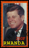 Presidente Kennedy Postage Stamp de Ruanda Fotos de Stock Royalty Free