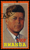 Presidente Kennedy Postage Stamp de Rwanda Fotografía de archivo libre de regalías