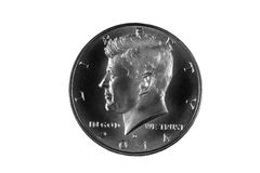 Presidente Kennedy Silver Half Dollar Fotografia Stock